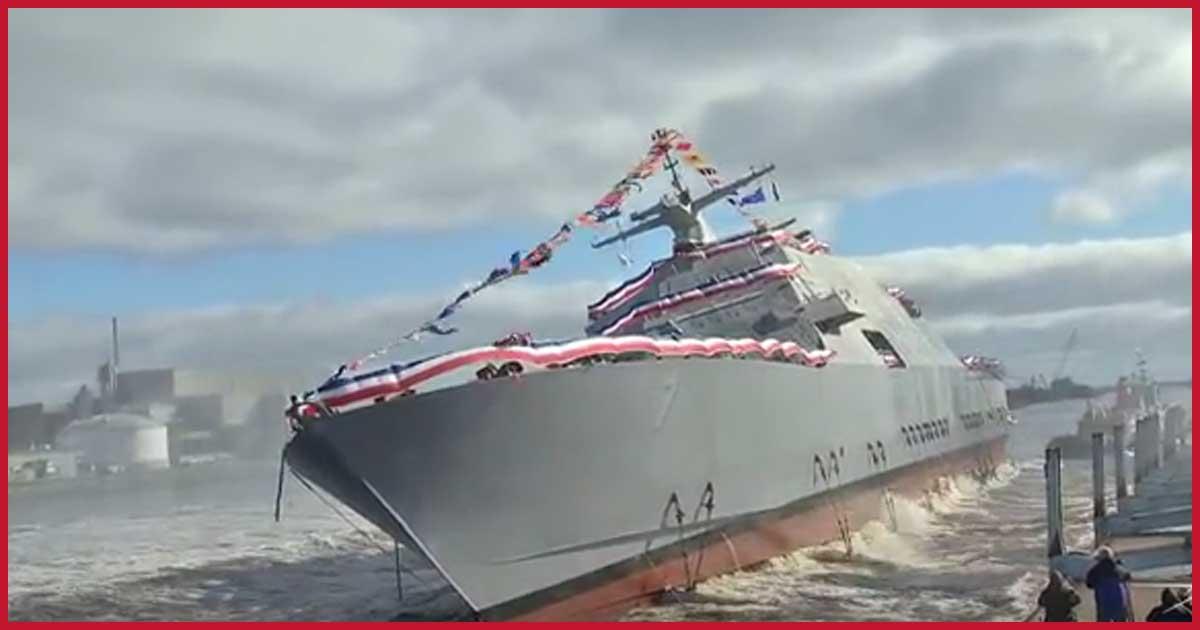 Spektakulärer Stapellauf eines US-Kriegsschiffs!