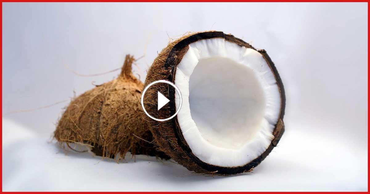 Unglaublich! Eine harte Kokosnuss in 30 Sekunden schälen.