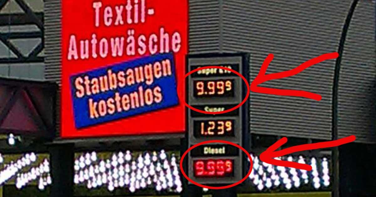 BENZINPREISE EXPLODIEREN! Fast 10 EURO für einen Liter Diesel!