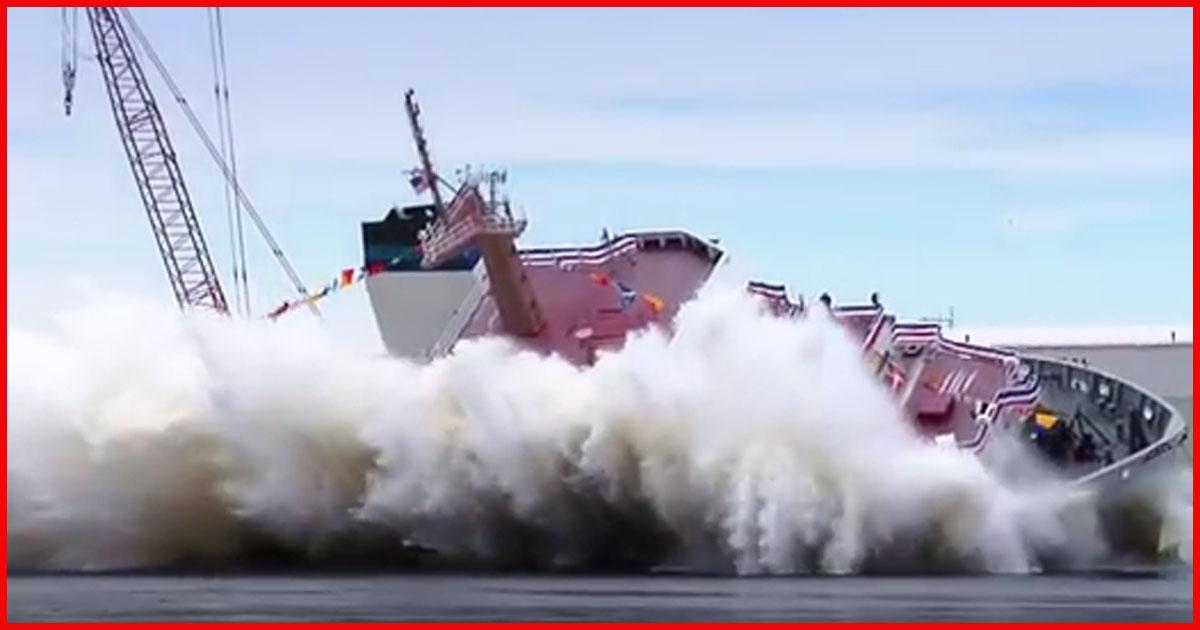 Spektakuläre und dramatische Schiffstaufe!